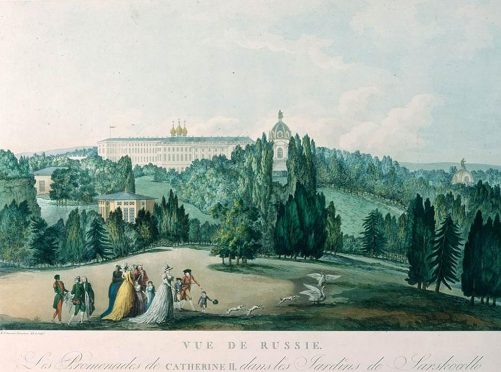 Empress Catherine II Strolling in Park at Tsarskoe Selo, by Michel-Francois Damame-Demartrais, 1811