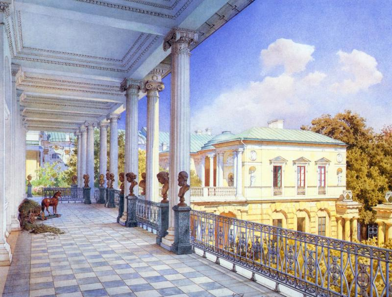 View of Cameron Gallery and Agate Rooms (1859 watercolour by Luigi Premazzi)