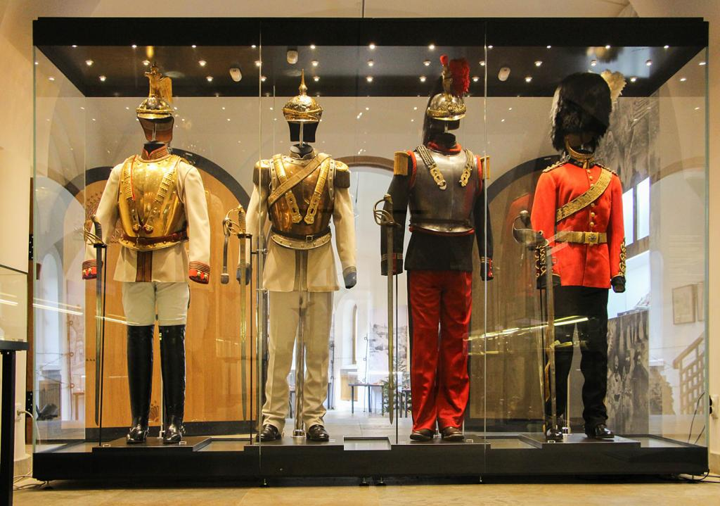 Full dress uniforms of Russian, German and French cuirassiers and Colonel's uniform of Scottish 2nd Dragoon Regiment