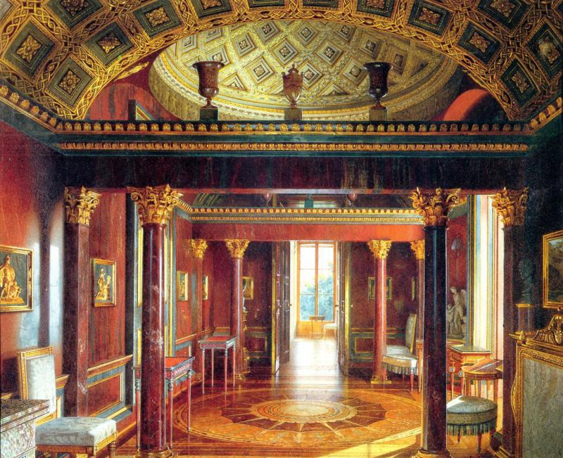 Jasper Cabinet of Agate Rooms (1859 watercolour by Luigi Premazzi)